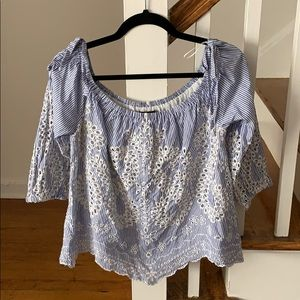 Express Light Blue & White Eyelet Off Shoulder Top